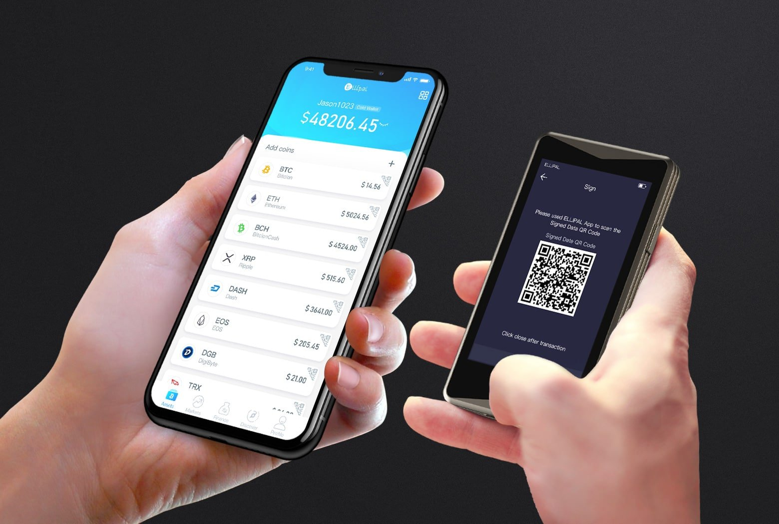 Ellipal Titan hardware wallet connected to mobile phone