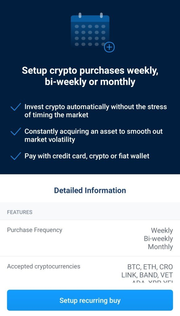 Recurring buy in the Crypto.com app