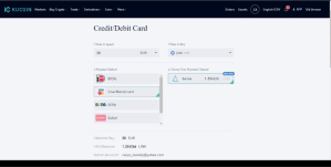 Buy crypto with a credit/debit card on Kucoin exchange
