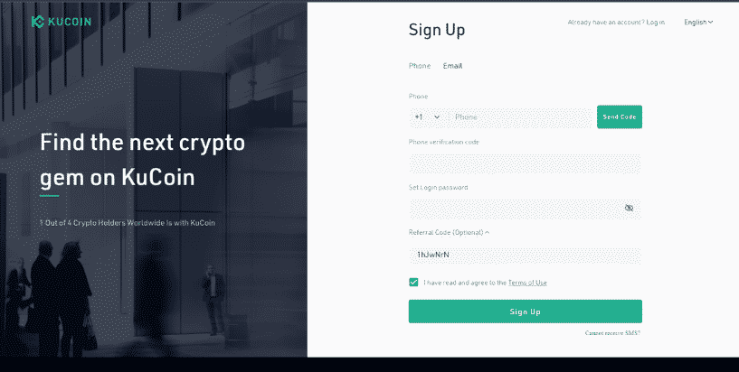 Sign-up on Kucoin