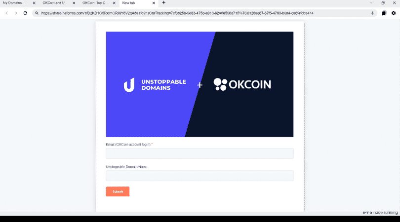Win 10000 dollars with Unstoppable Domains and OKCoin exchange