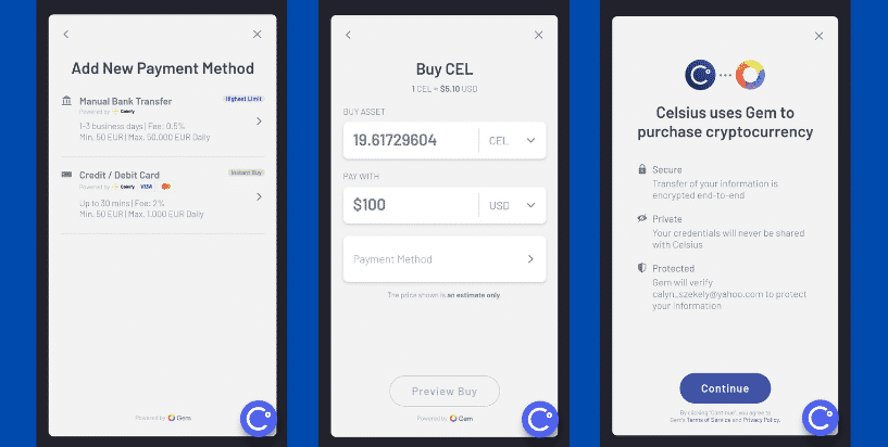 Buy crypto in the Celsius app