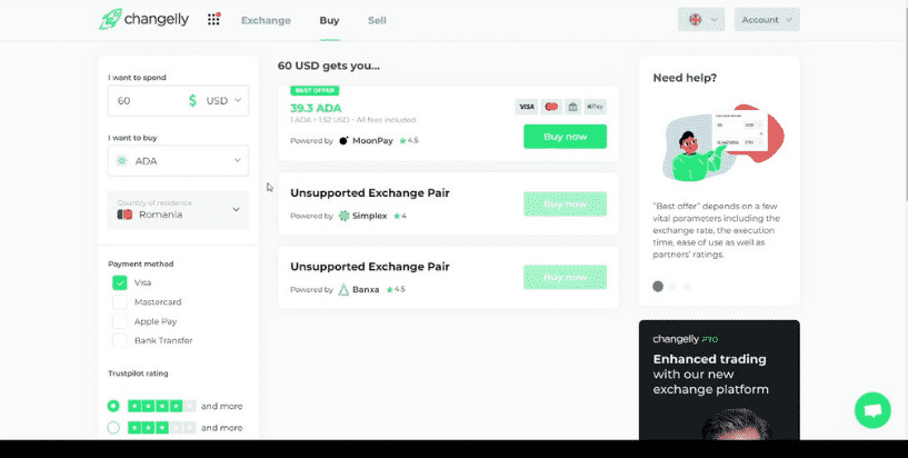 Buy crypto rates on Changelly