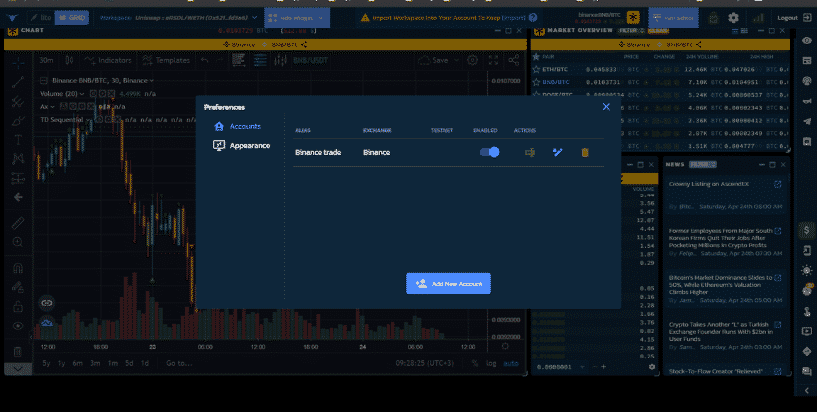 API key connection created with the Binance exchange