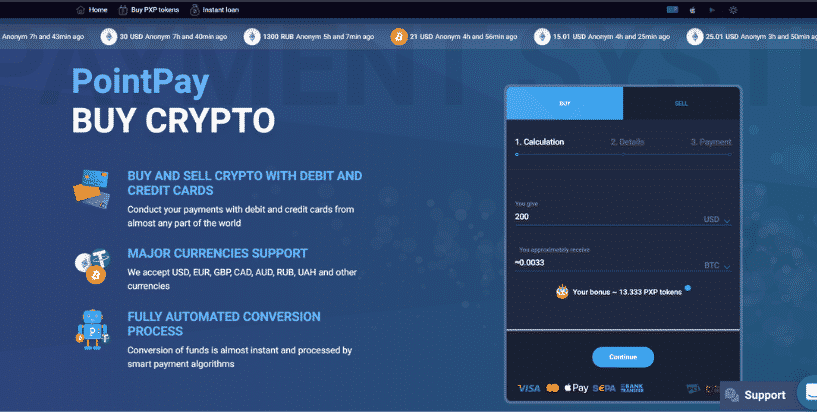 Buy crypto on PointPay