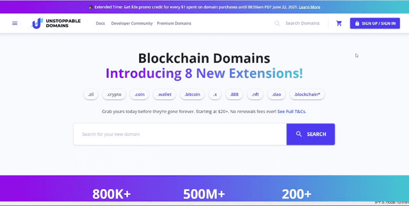New crypto domain extensions